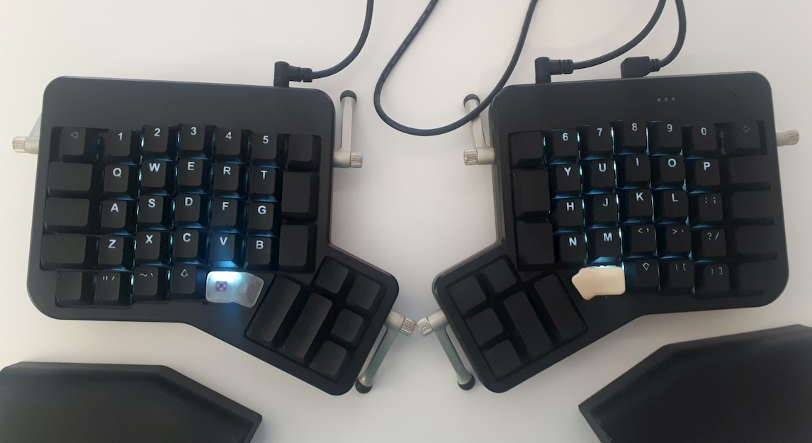 The full ergodox, seen from above.