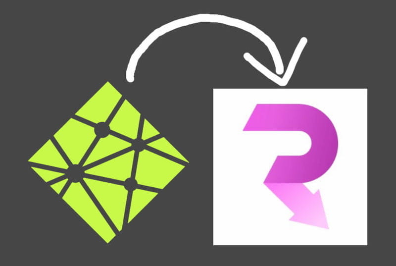 Netlify CMS' logo with an arrow pointing to Routify's logo