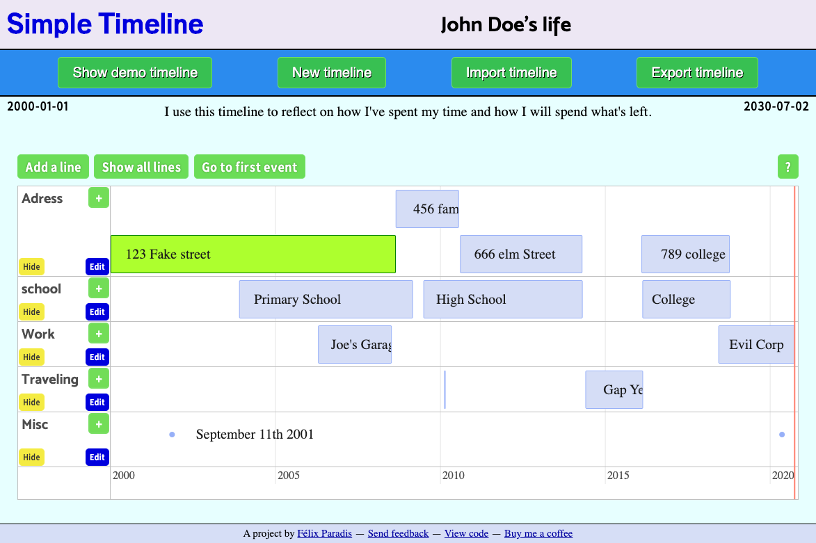 Screenshot of Simple Timeline